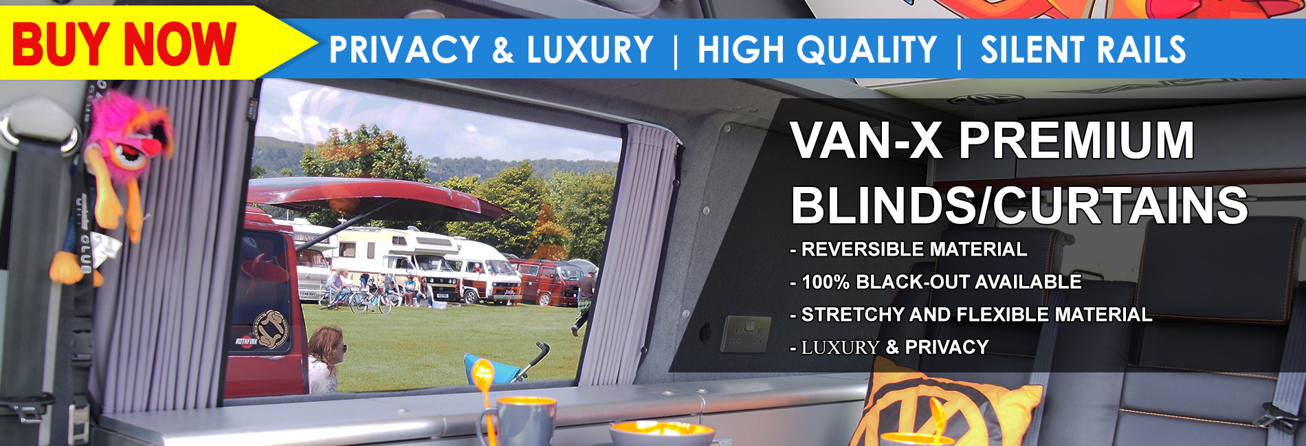 VAN-X CURTAINS | Blackout Premium | Single Layer Eco | NEXT DAY DELIVERY