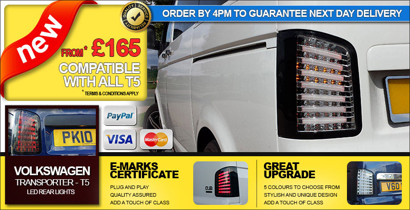 BRAND NEW: VAN-X Volkswagen VW T5 Transporter Rear LED Lights | E-Marks Certificate | Quality Assured | 5 Colours Available | FROM £165