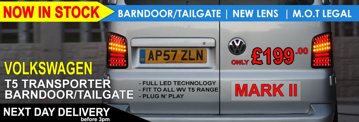 BRAND NEW: VAN-X Volkswagen VW T5 Rear LED Lights Upgraded | NEW FOR 2017 | TAILGATE AND BARNDOOR | £199.99