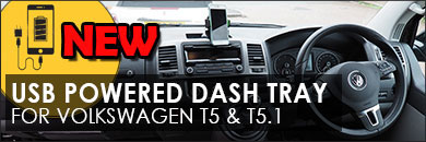 Click here for more information about our Van-X USB powered dash tray for Volkswagen Transporter T5 and T5.1