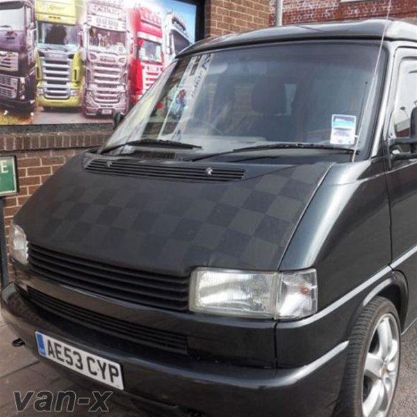 Bonnet Bra / Cover Black Chequered for VW Transporter T4-0