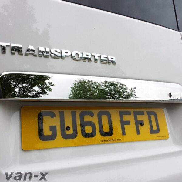 Stainless Steel Number Plate Trim for Barndoor VW T5 Transporter-0