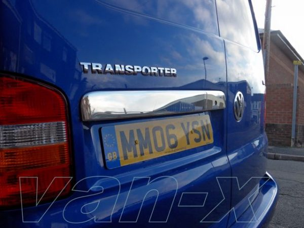 Stainless Steel Number Plate Trim for Barndoor VW T5 Transporter-2331