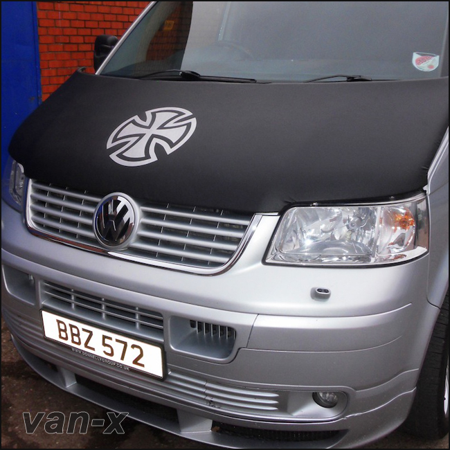 Bonnet Bra / Cover Silver French Cross for VW Transporter T5-0