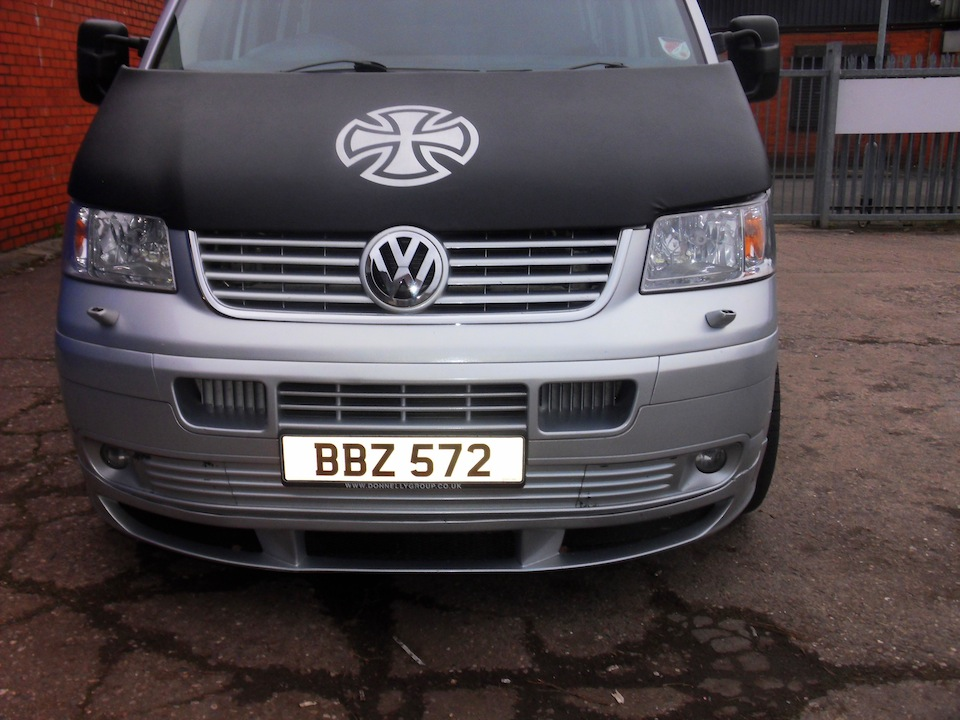 Bonnet Bra / Cover Silver French Cross for VW Transporter T5-1338