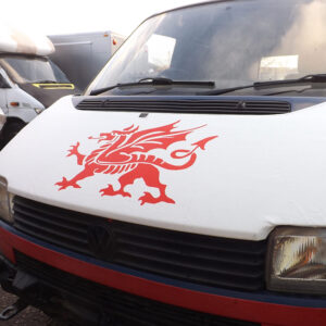 Bonnet Bra / Cover White Welsh Dragon for VW Transporter T4 S.NOSE-0