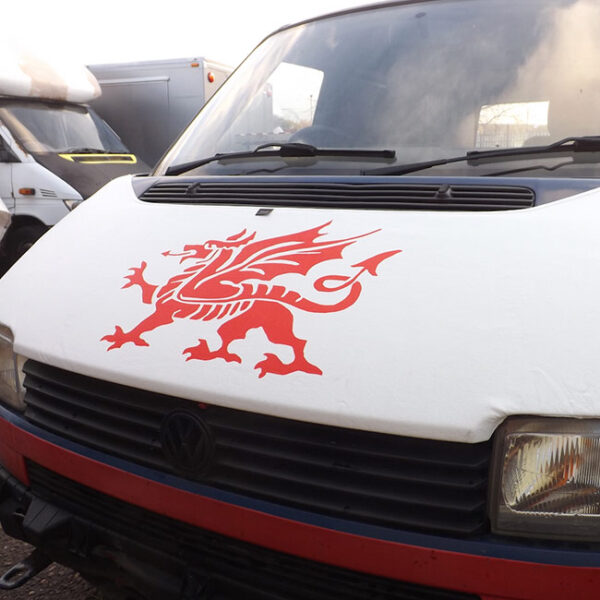 Bonnet Bra / Cover White Welsh Dragon for VW Transporter T4 S.NOSE-0