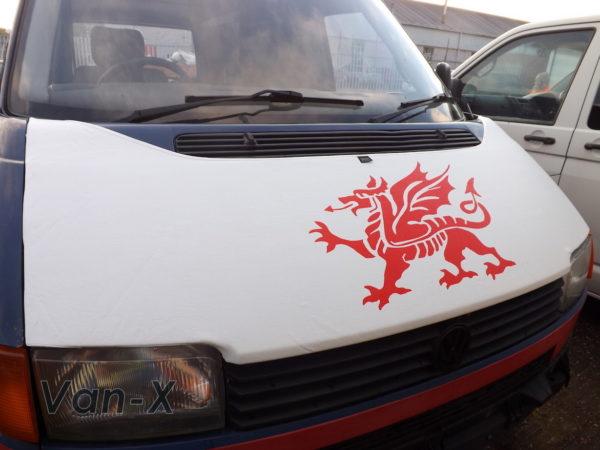 Bonnet Bra / Cover White Welsh Dragon for VW Transporter T4 S.NOSE-3105