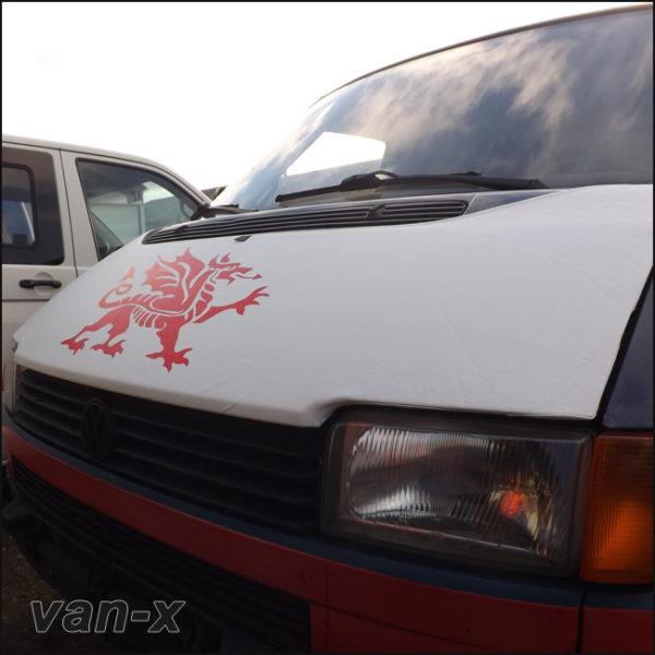 Bonnet Bra / Cover White Welsh Dragon for VW Transporter T4 S.NOSE-3117