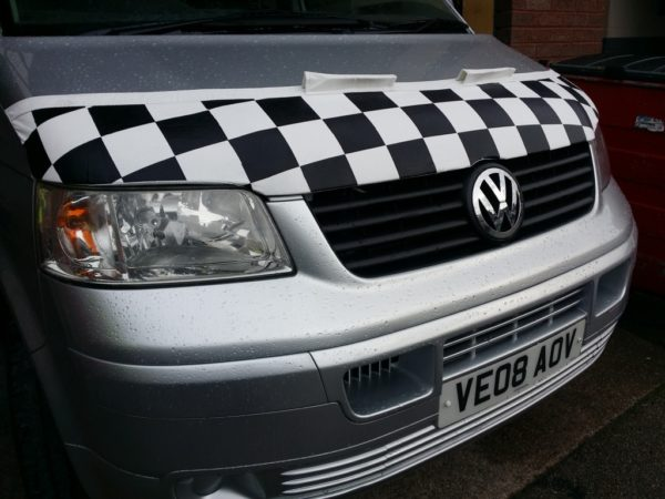 Half Bonnet Bra / Cover White Chequered with Wind Deflectors for VW Transporter T5-2495