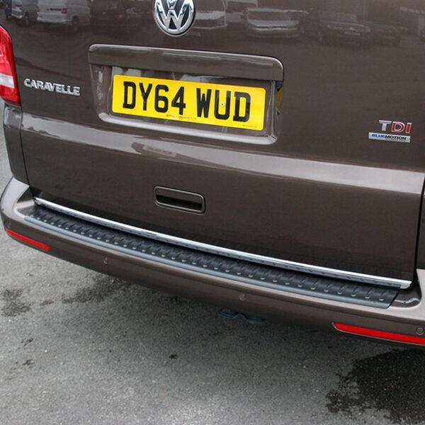 Black Tailgate Rear Bumper Protector for VW T5 Transporter-0