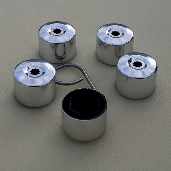 Silver Protective Wheel Nut / Bolt Covers 17mm (set of 20)-0