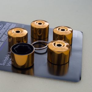 Gold Protective Wheel Nut / Bolt Covers 17mm (set of 20)-0