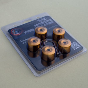 Gold Protective Wheel Nut / Bolt Covers 17mm (set of 20)-8687