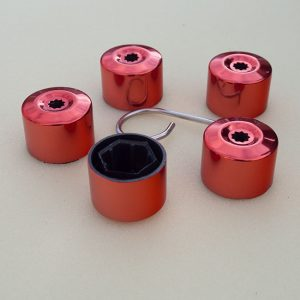 Red Protective Wheel Nut / Bolt Covers 17mm (set of 20)-0