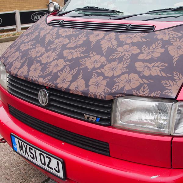 Bonnet Bra / Cover Flowers HD Print for VW Volkswagen T4 Transporter-0