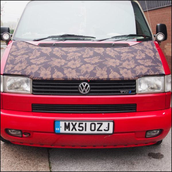 Bonnet Bra / Cover Flowers HD Print for VW Volkswagen T4 Transporter-4583