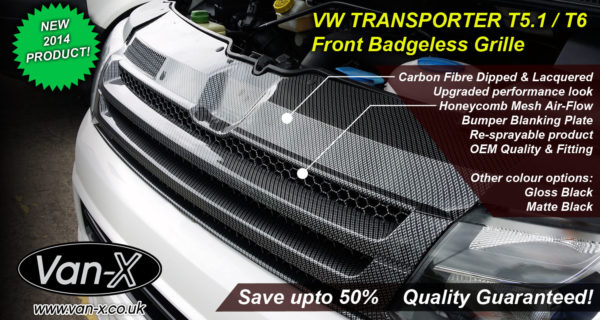 DARK CARBON Badgeless Grille for Volkswagen T5.1 *CLEARANCE* [B Grade] -7205