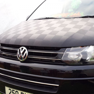 Black / Black Checkered Bonnet Bra / Cover for VW T6 Transporter-0