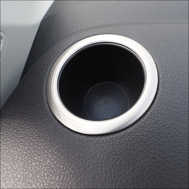Van-X   Brushed Stainless Steel Cup Holder Surround for VW T6 Transporter