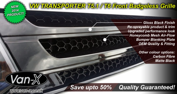 PIANO BLACK Front Badgeless Grille for VW Volkswagen T5.1 *CLEARANCE* [B GRADE] -7748