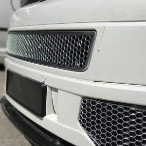 HONEYCOMB SPORTLINE FRONT SPOILER FOG LIGHT TRIM + BUMPER MESH FOR VW T5.1 (MATTE CHROME)-8970