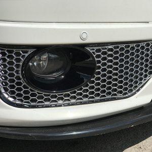 HONEYCOMB SPORTLINE FRONT SPOILER FOG LIGHT TRIM + BUMPER MESH FOR VW T5.1 (MATTE CHROME)-8940