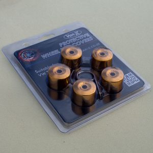 Gold Protective Wheel Nut / Bolt Covers 17mm (set of 20) (Ideal gift)-20426