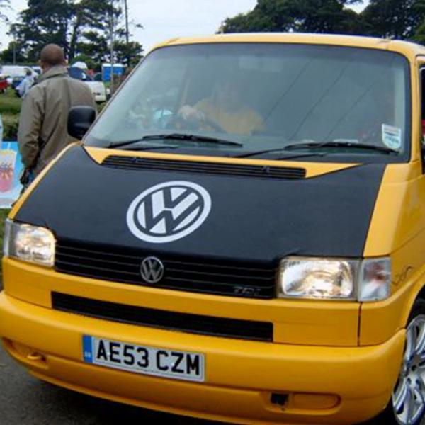 Bonnet Bra / Cover Black with Silver Logo for VW Transporter T4 S.NOSE-21035