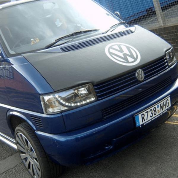 Bonnet Bra / Cover Black with Silver Logo for VW Transporter T4 S.NOSE-21036
