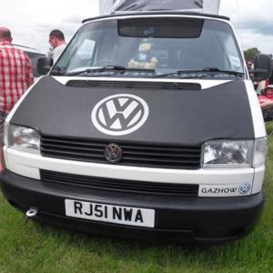 Bonnet Bra / Cover Black with Silver Logo for VW Transporter T4 S.NOSE-21039
