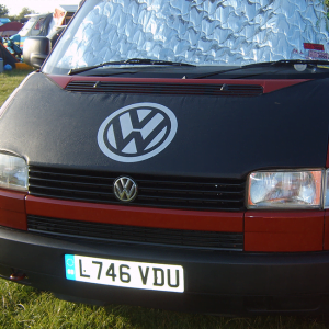 Bonnet Bra / Cover Black with Silver Logo for VW Transporter T4 S.NOSE-0