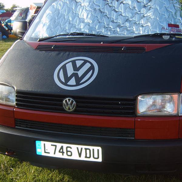Bonnet Bra / Cover Black with Silver Logo for VW Transporter T4 S.NOSE-0